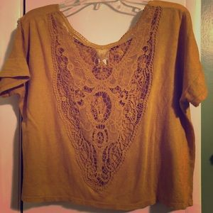 Mustard Boxy Crop with Embroidered Back